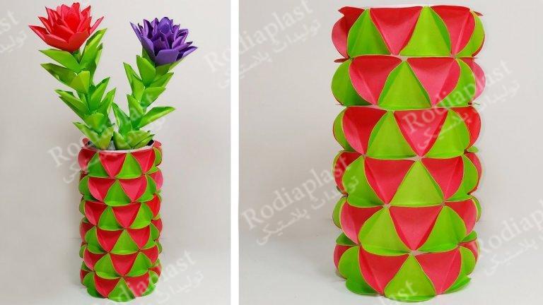 تزیین گلدان با کاغذ رنگی