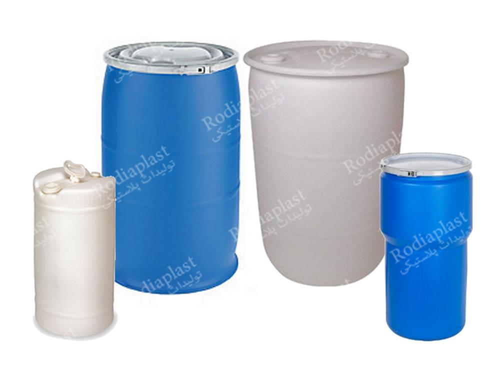 بشکه پلاستیکی سفید و آبی